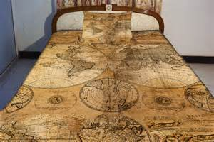 Bed Sheets Etsy Retro Map Bedspread Retro Map Bedding Set World Map By