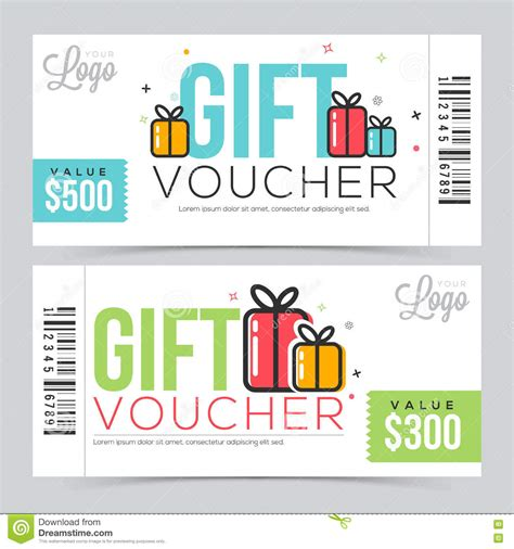 Voucher Promo creative gift voucher or coupon template stock illustration image 76365005