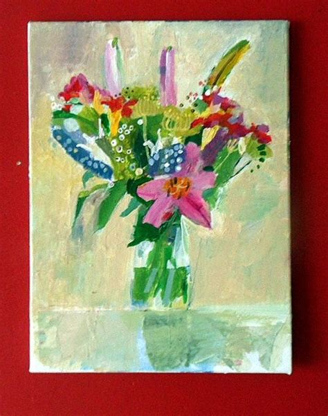 Acrylic Painting Of Flowers In A Vase by Vase Of Flowers Original Acrylic Painting