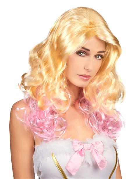 e donna parrucca bionda e rosa donna parrucche e vestiti di
