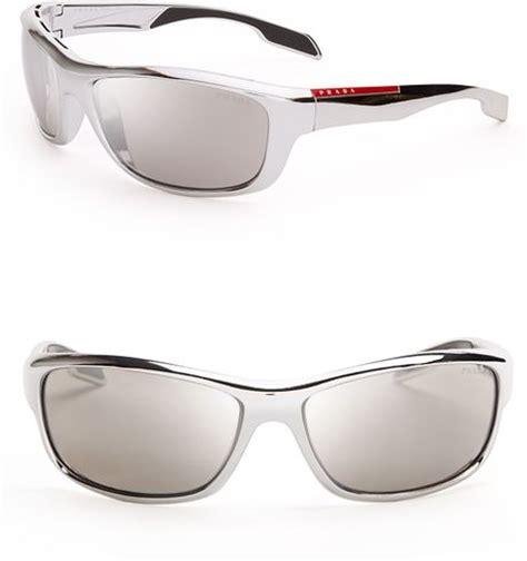 prada linea rossa sport wrap sunglasses in gray for men