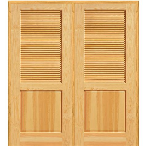 Interior Closet Doors Mmi Door 72 In X 80 In Half Louver 1 Panel Unfinished Pine Wood Left Active