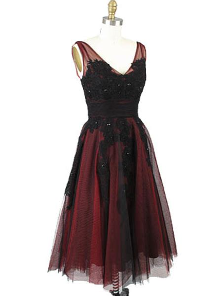 style red black tulle lace tea length party dress