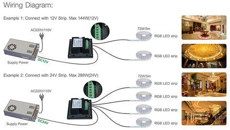d4 led wandcontroller 4 kanal rgbw 12 24vdc 4x4a pwm