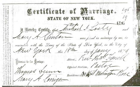New York Marriage Certificate Records The Losty Families World Genealogy Website
