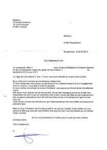 Demande De Lettre De Recommandation Employeur Exemple Lettre De Recommandation Nounou Document