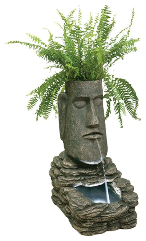 Easter Island Planter by Easter Island Solar Water Feature And Planter With