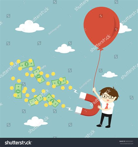 flying with large business concept businessman attracting money large stock vector 589325921