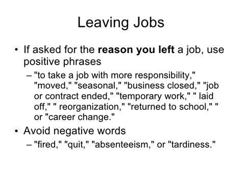 reason for leaving a resume resume ideas