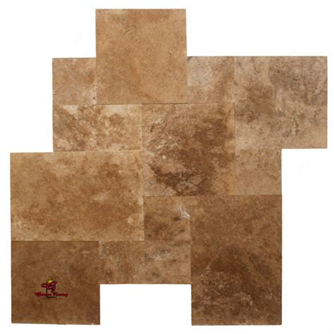 installing french pattern travertine tiles noce dark walnut honed and filled french pattern los