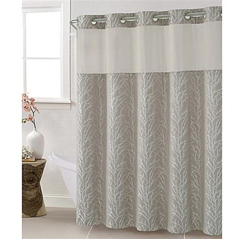 bed bath and beyond extra long shower curtain hookless jacquard tree branch shower curtain in taupe