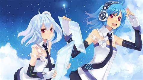 wallpaper anime tablet anime girls blue hair bowtie clouds headphones red eyes