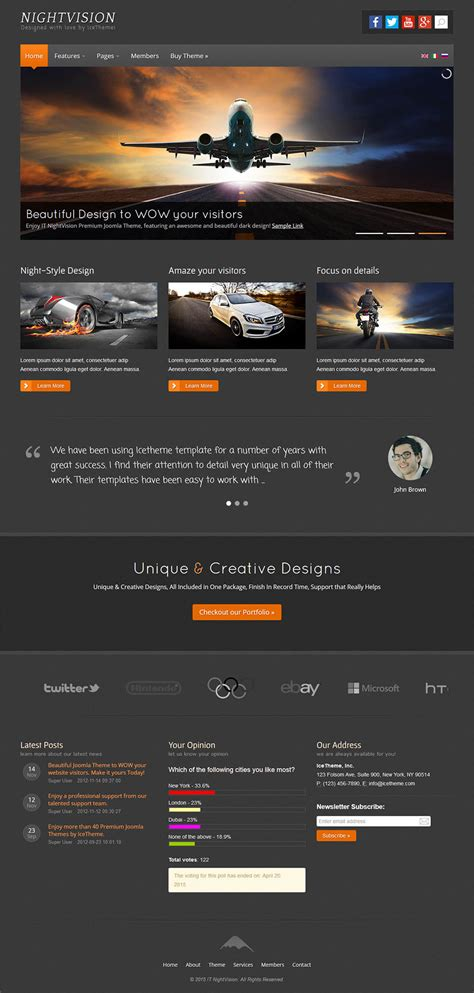 joomla theme ice icetheme nightvision v1 0 0 template auto and moto blog