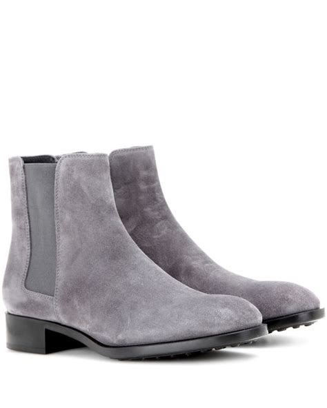 tod s suede chelsea boots in gray grey lyst