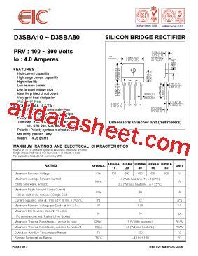 diode d3sba60 d3sba60 데이터시트 pdf eic discrete semiconductors