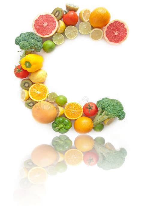 fruits w vitamin c vitamin c rich fruits and vegetables alphabet stock photo
