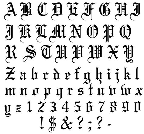 old english tattoo font stencil