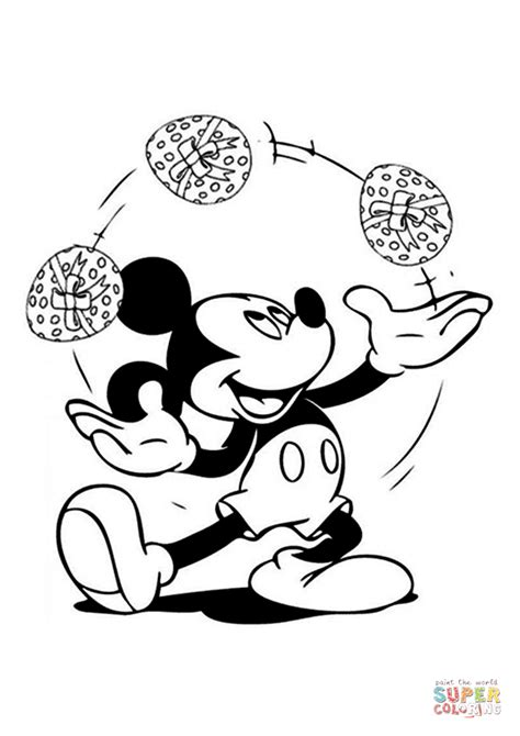 mickey the juggler on easter coloring pages disney easter mickey is juggling easter eggs coloring page free