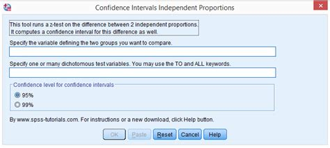 tutorial spss version 22 z test and confidence intervals independent proportions tool
