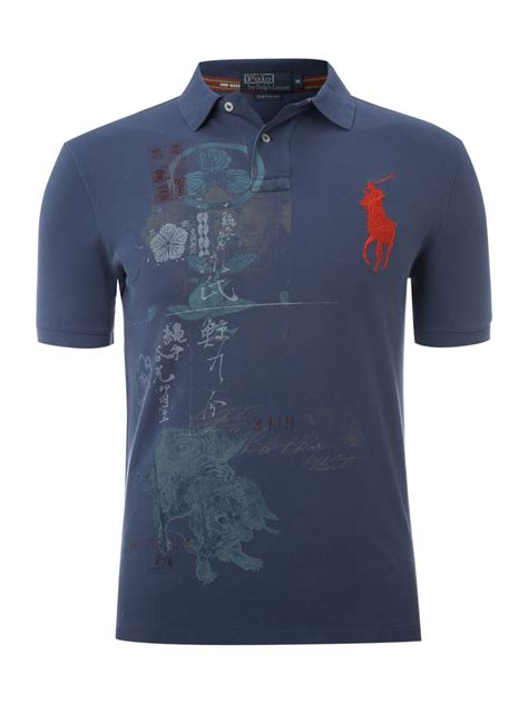 Polo Shirt Polo Raphl Custom Tshirt Polo polo ralph custom fitted printed polo shirt in blue for