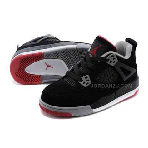 jordans shoes for kid 4 bred basketball shoes black cement grey