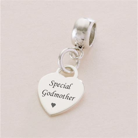 Special Godmother sterling silver heart charm  fits Pandora   Charming Engraving