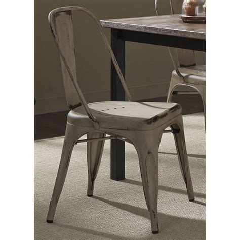 heavy distressed metal bow back dining chair by liberty