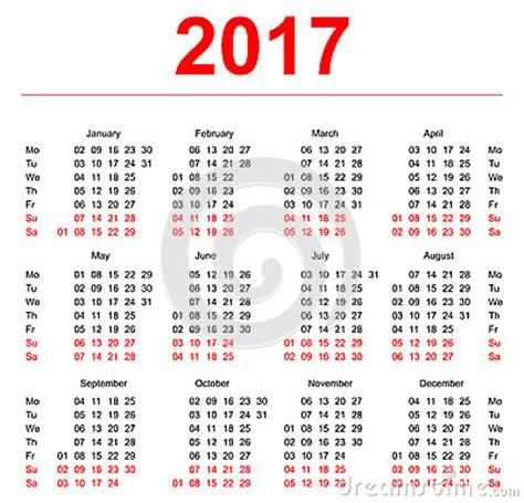 Calendario N Settimane Plantilla De 2017 Calendarios Semanas Verticales Primer