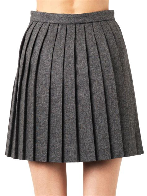laurent pleated mini skirt in gray lyst
