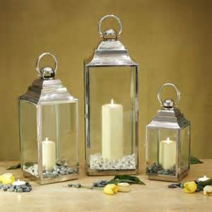 Set Of Three Candle Lanterns Stainless Steel Candle Lantern Set Of 3 839163