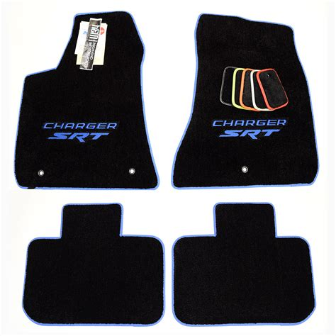 dodge charger srt hellcat floor mats silver trim logos