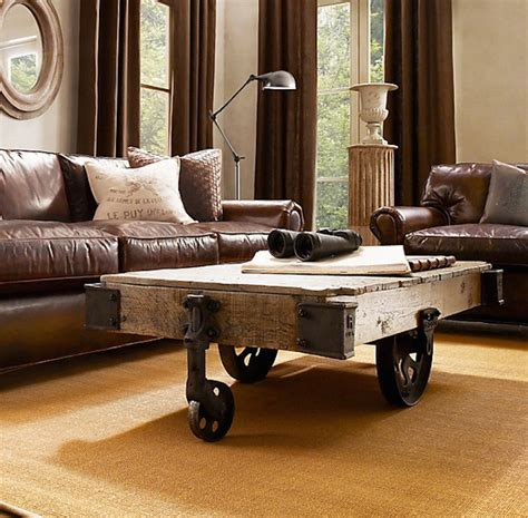 Friday Favorites Rustic Coffee Tables Shining On Design Cart Coffee Table Restoration Hardware