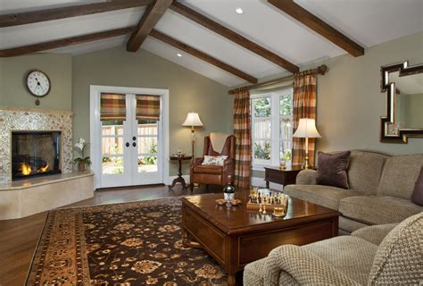 Green Wall Paint with fireplace living room traditional