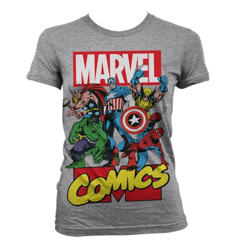 Tshirt Superheroes 19 From Ordinal Apparel t shirt femme marvel comics h 233 ros gris