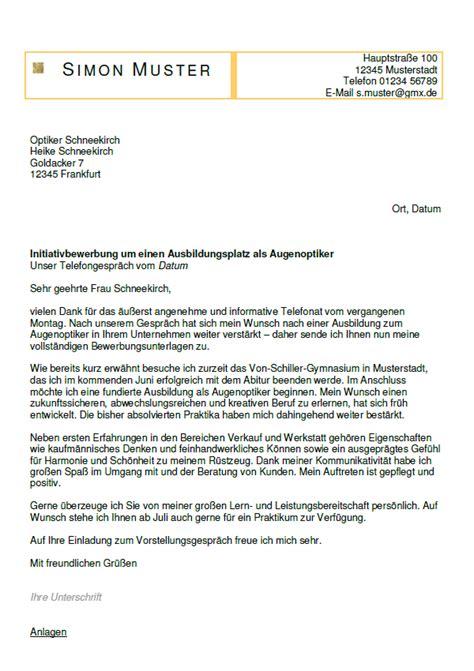 Anschreiben Bewerbung Ausbildung Optiker Bewerbung Augenoptiker Ausbildung Sofort