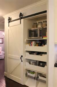 pantry with barn door kitchen leo