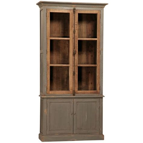 Wood Cabinets With Glass Doors Toulouse Reclaimed Pine Cabinet Distressed Grey Finish