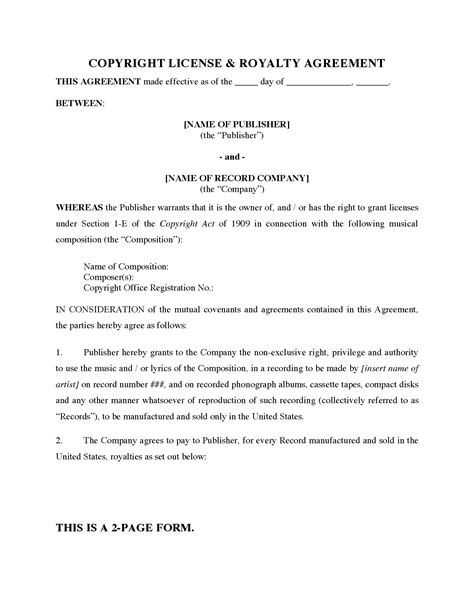 copyright agreement template usa copyright license royalty agreement