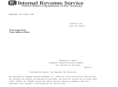 Irs Verification Letter Phone Number Request For Irs Verification Of Non Filing