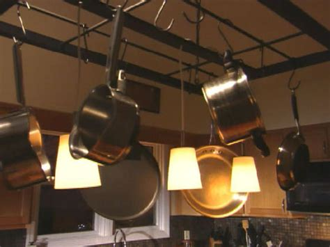 Ceiling Pot Rack With Lights Build A Hanging Pot Rack Hgtv