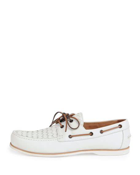bottega veneta woven leather boat shoe white