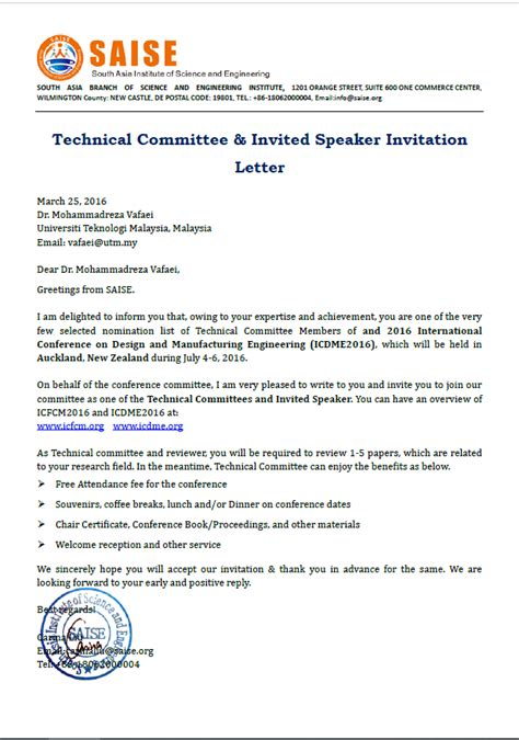 International Academic Conference Invitation Letter got invited as speaker and member of scientific committee for an international conference in new