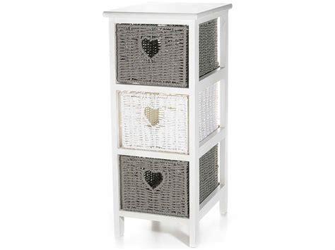 mobili cassettiere cassettiera in legno con 3 cestini in vimini pillinoshop