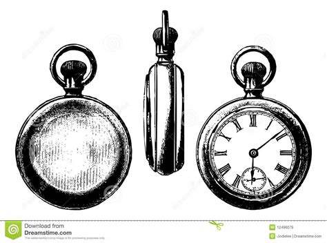 antique pocket watch graphic three views royalty free
