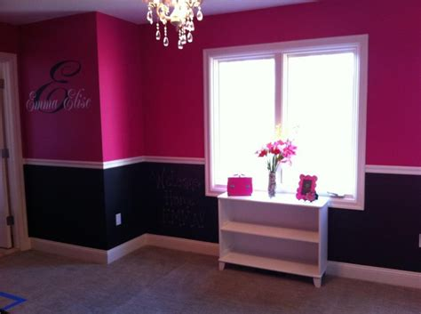 pink black s room the top is behr quot tuti fruti quot and the bottom is chalk board paint