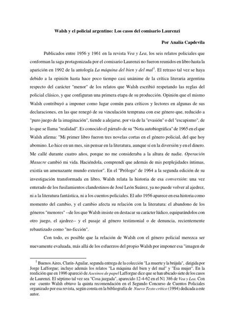 Walsh y El Policial Argentino Los Casos Del Comisario