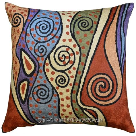 modern decorative pillows for sofa klimt modern throw pillows rust cushion cover blue accent