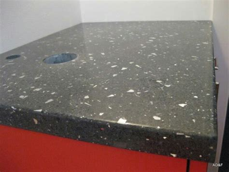 black concrete counter top with 100 recycled glass