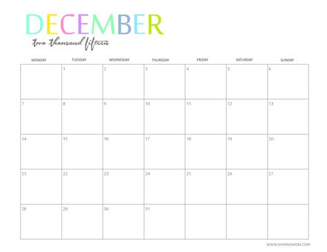 December 2015 Calendar Printable The Printable 2015 Monthly Calendar By Shiningmom Is Here