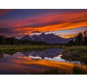 Sunset Grand Teton National Park Wyoming Usa Hd Wallpaper